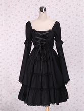 Lolitashow Pure Black Lolita One-piece Dress Long Sleeves Lace Up Shirring