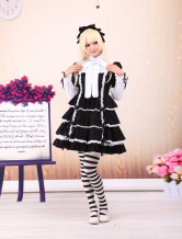 Cotton Black Lace Short Sleeves Gothic Lolita Dress