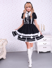 Lolitashow Cotton Black Lolita One-piece Dress White Bows Ruffles Trim