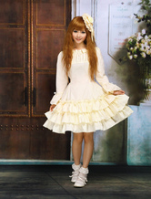 Lolitashow Beige Long Sleeves Multi Layers Sweet Lolita Dress