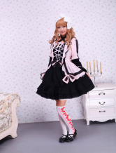 Pink Black Cotton Gothic Lolita Dress