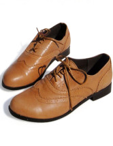 Yellow Sheepskin Pointed Toe Lace-up Oxford Shoes