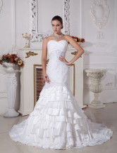 Fabulous White Taffeta Sweetheart Mermaid Trumpet Wedding Dress
