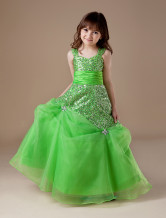 Gorgeous Green Net Sweetheart Floor Length Girls Pageant Dress