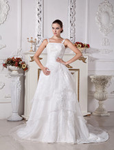 Ivory A-line Scoop Neck Organza Satin Wedding Dress