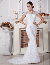 Lace Slim White Halter Sheath Satin Wedding Gown