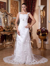 Sheath Column Sweetheart Applique Beading Lace Satin Pongee Wedding Dress