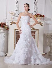 Sweetheart Mermaid Trumpet Beaded Embroidery Organza Wedding Dress