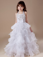 White A-line Square Satin Floor Length Flower Girl Dress