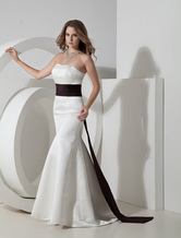 White Strapless Satin Sash Evening Gown