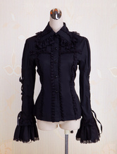 Lolitashow Black Cotton Lolita Blouse Long Hime Sleeves Lace Up Lace Trim Turn-down Collar