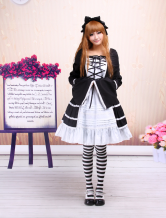 Cotton Black And White Long Sleeves Cotton Gothic Lolita Dress