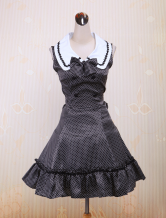 Cotton Black Buttons Bow Sleeveless School Lolita Dress