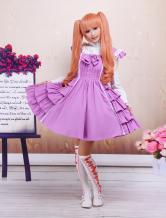 Cotton Purple Back Lace Tie Sweet Lolita Dress