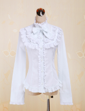Cotton White Bow Carvat Lolita Blouse