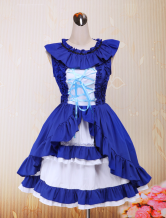 Deep Blue Strapless Ruffle Cotton Lolita Dress