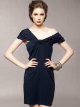 Sexy Royal Blue Cotton Sleeveless Women's Party Dress