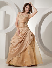 Beautiful Golden Taffeta Floor Length Princess Prom Dress