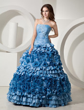 Noble Sky Blue Taffeta Strapless Floor Length Prom Dress