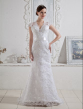 Elegant Lace White A-line Short Sleeves V-Neck Sash Beading Satin Wedding Dress