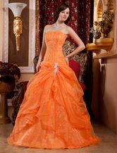 Euro Style Ball Gown Strapless Beading Satin Organza Ball Gown Dress