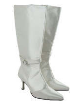 Ivory Satin Knee High Wedding Boots