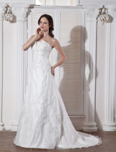 White Elegant A-line Strapless Empire Waist Beading Embroidery Satin Organza Wedding Dress