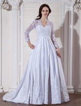 White Rococo V-Neck Satin Beading Ball Gown Wedding Dress