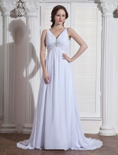 White V-Neck Empire Waist Beading Chiffon Elastic Woven Satin Wedding Dress