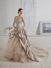 Champagne Ball Gown Sweetheart Beaded Applique Satin Organza Wedding Gown