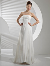 A-line Strapless Empire Waist Chiffon Bridal Dress