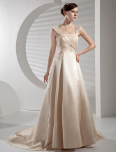 Ball Gown Square-Neckline with Beaded Embroidery Chapel Train Satin Wedding Gown