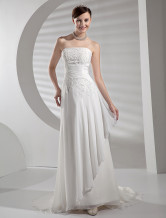 Casual A-Line Strapless Chapel Train Chiffon Satin Wedding Gown