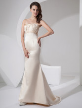 Informal Sheath Strapless Floor Length Satin Wedding Dress