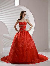 Red Satin Organdie Wedding Dress