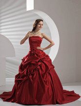 Red Satin Pick-up Wedding Dress