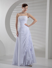 White Chiffon A-line Wedding Dress
