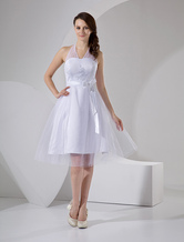 White Halter Embroidery Sash Satin Mini Wedding Dress