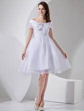 White Tea Length Taffeta Mini Wedding Dress