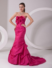 Amazing Fuchsia Taffeta A-line Sweetheart Sweep Evening Dress