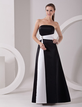 Black Strapless Sash Satin Floor Length Evening Gown