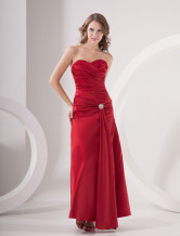 Fuchsia A-line Strapless Sweetheart Taffeta Evening Dress