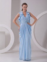 Sky Blue Chiffon Halter V-Neck Ladies Evening Dress