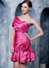Sweet Fuchsia Taffeta Beading Off-The-Shoulder Short Cocktail Dress
