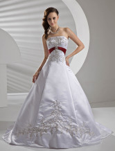 A-line Strapless Empire Waist Sash Beading Embroidery Satin Pongee Wedding Dress