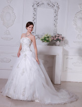 Euro Style A-line Sweetheart Strapless Satin Wedding Gown