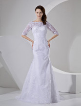 Mermaid Trumpet Off-The-Shoulder 3/4 Sleeves Beading Embroidery Satin Organza Wedding Dress