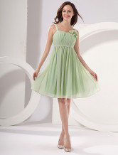 Modern Light Green Square Neckline A-line Chiffon Womens Homecoming Dress