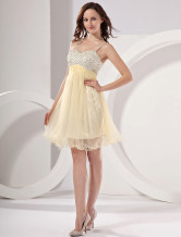 Modern Light Yellow Net A-line Womens Homecoming Dress