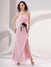 Pink Chiffon Strapless Floor Length Ladies Evening Dress